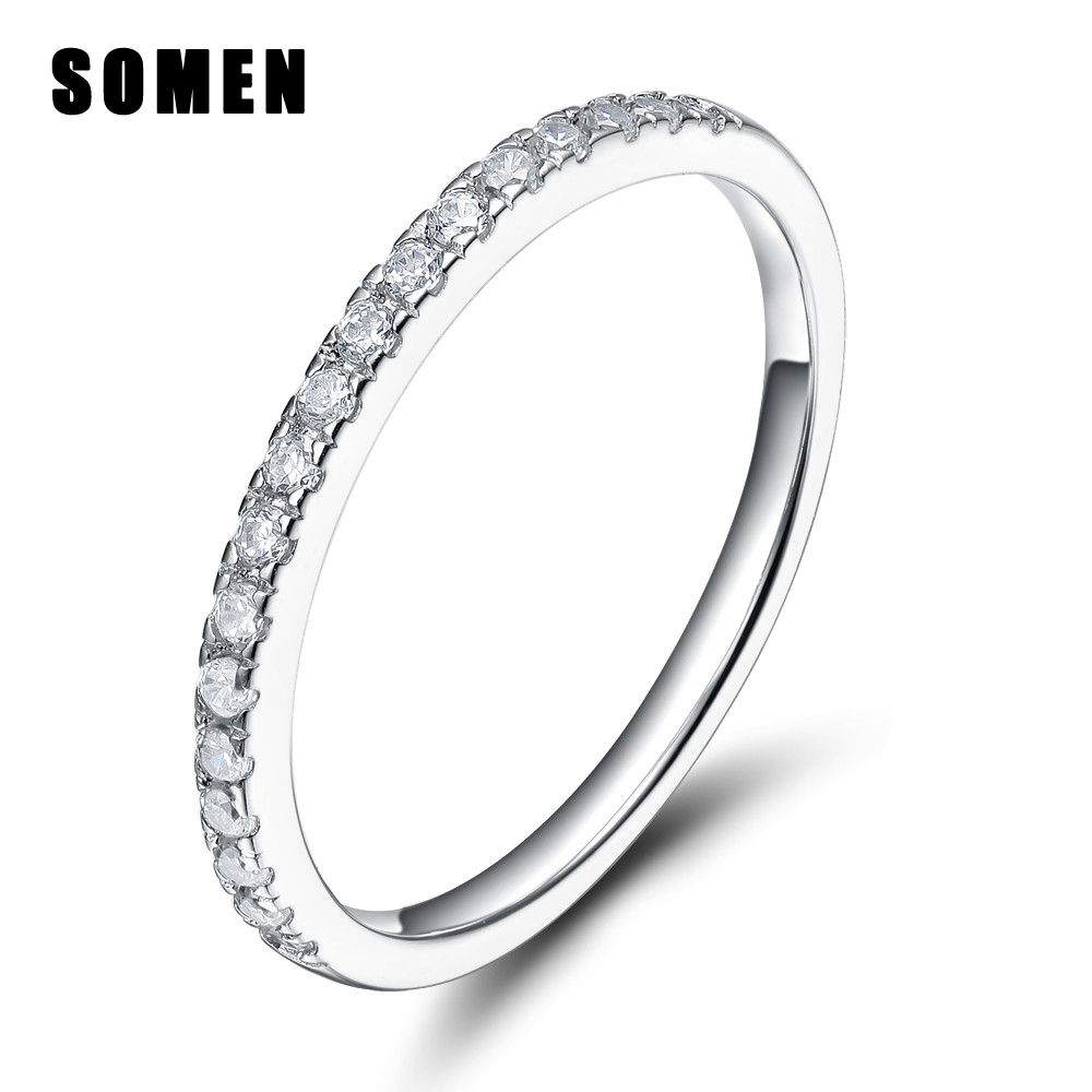 Women Cubic Zirconia 925 Sterling Silver Crystal Ring Sinmple Jewelry Female Love Wedding Band Engagement Stacking Tail Rings