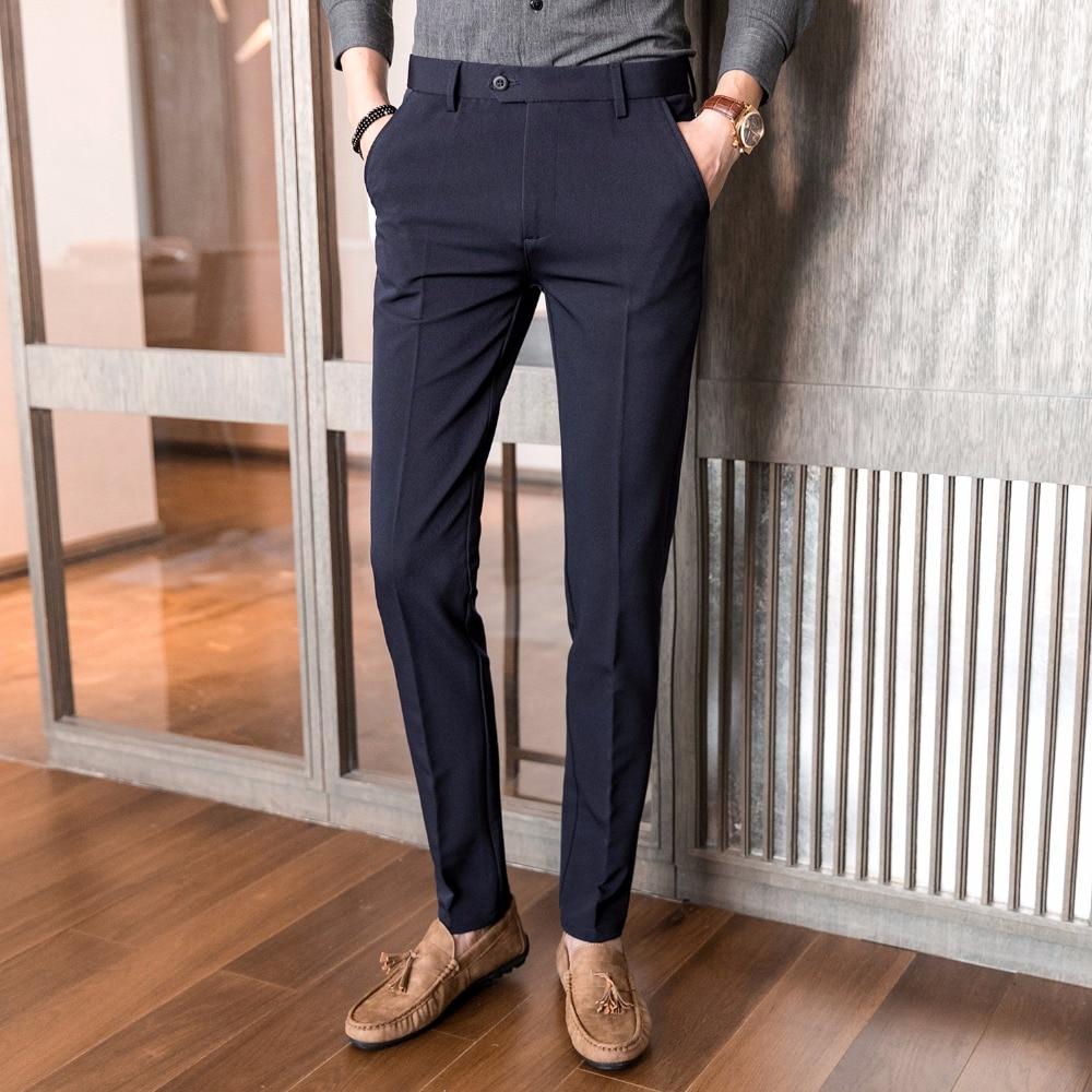 Mens Dress Pants New Korean Slim Fit Elastic Fabrics Business Casual Pants Male High-grade Formal Suit Pants