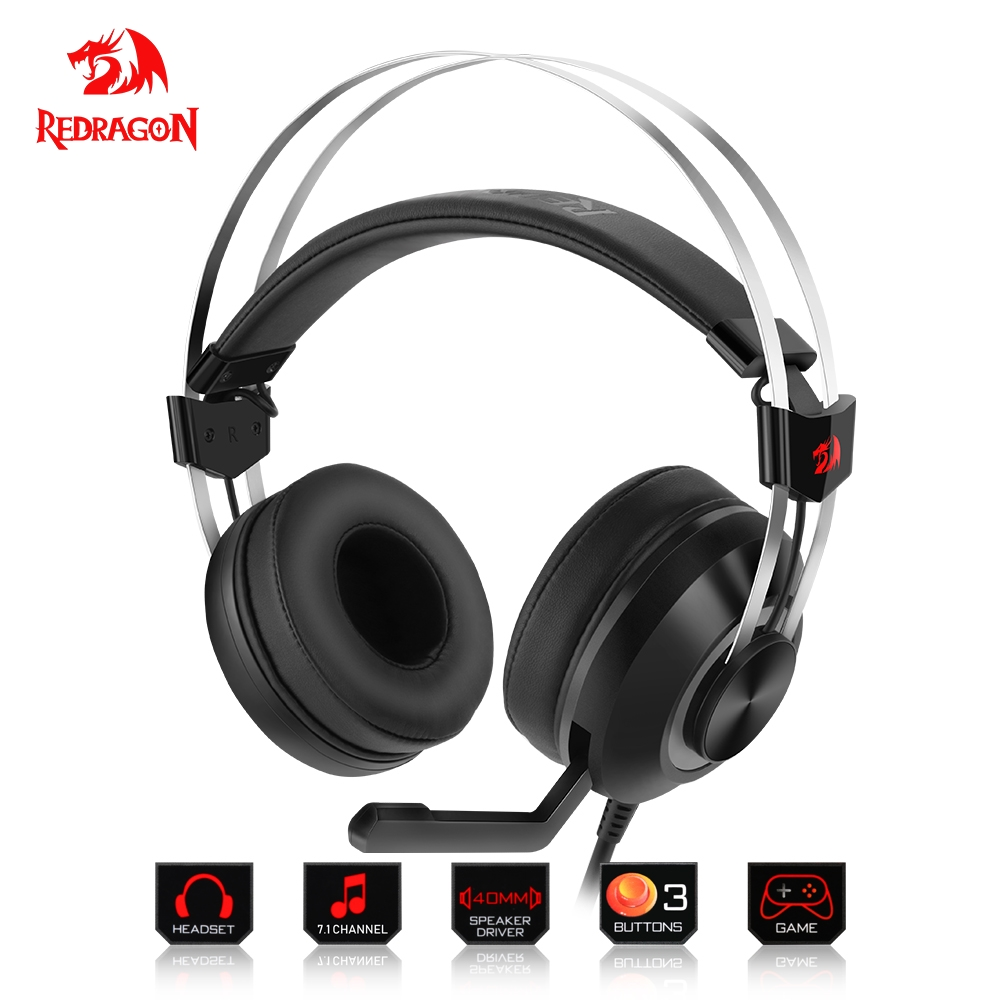 Redragon 7.1 Channel Virtual USB Surround Sound Gaming Headphones Headset wired gamer Breathing backlight Earphone Microphone