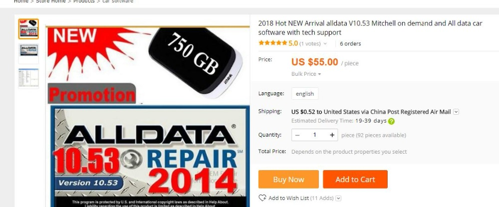 2018 Latest Verison Alldata 10.53+mitchell On Demand 2014+autodata 3.45 In 750G Hard Disk