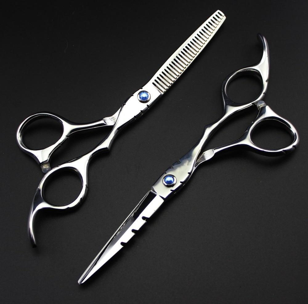 Baru profesional Jepun 440C 6.0 & 5.5 inci memotong tukang gunting penipisan rambut gunting set hairdressing gunting gunting Penghantaran Percuma
