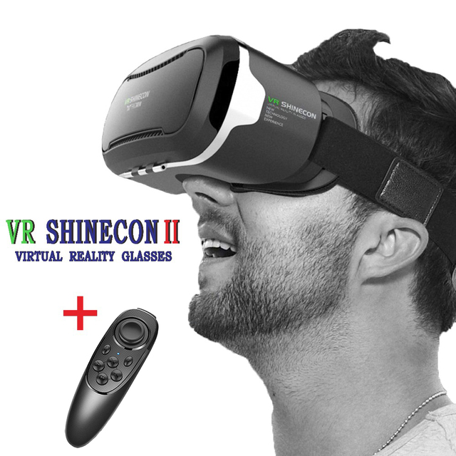 Original 3D VR Shinecon 2.0 Virtual Reality Box Game Video Movie Glasses Google Cardboard Helmet For 4.7-6.0 Smartphone+Gamepad