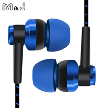 M&J MP3 MP4 Wiring Subwoofer Headset Braided Rope Wire Cloth Rope Noise Isolating Earphones for iphone Xiaomi redmi pro earbuds