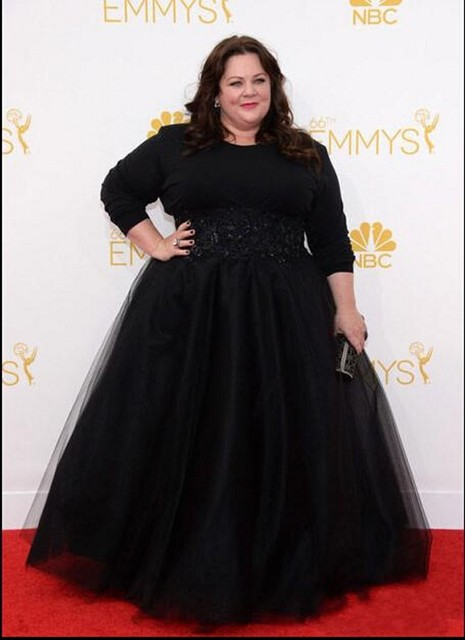 Black Plus Size Celebrity Gowns Long Sleeves Prom Dresses 2016 Emmy