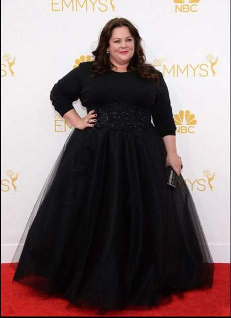 Black Plus Size Celebrity Gowns Long Sleeves
