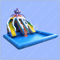 Commercial PVC Tarpaulin Inflatable Slide with Big Pool, Giant Inflatable Water Slide, Inflatable Pool Slide