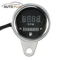 2 в 1 DC 12 В мотоциклетные тахометр об Shift метр измеритель уровня топлива с цифровой светодиодный индикатор Мотоцикл инструмент