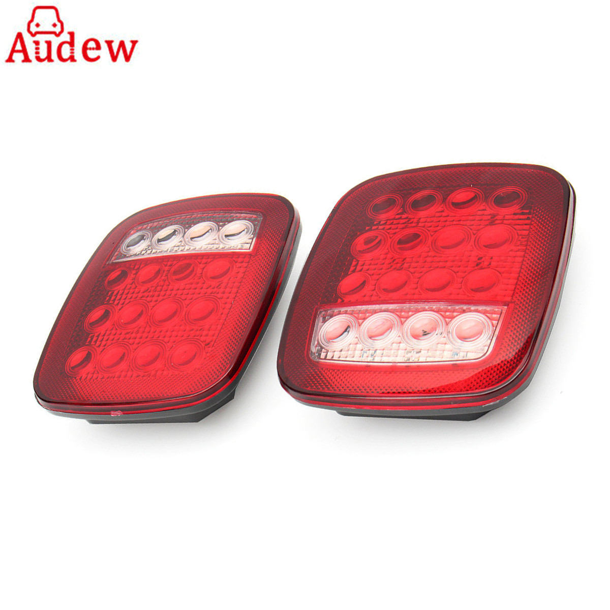 2Pcs 16 LED Car Tail Light Waterproof Truck Trailer Boat Stop Turn back up reverse Light Lamp  Red/White 2pcs lot red led light 25 31mm spst 6pin on off g128 boat rocker switch 16a 250v 20a 125v car dash dashboard truck rv atv home