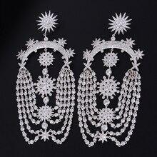 SISCATHY New Elegant Fireworks Geometric Women Tassel Earring Full Mirco Cubic Zirconia Earrings Bridal Wedding Fashion Jewelry цена