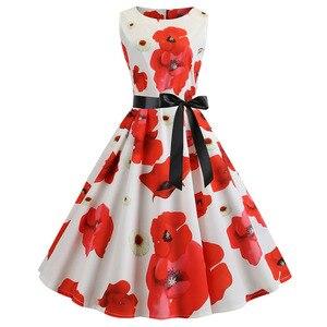 Женское летнее платье с круглым вырезом, винтажное платье с цветочным принтом в стиле ретро, 50s 60 s, 2019