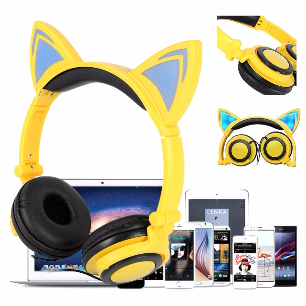 Flashing Glowing Cat Ear Headphones Gaming Headset Fidget Foldable Baby Kids Earphone with LED light For PC Mobile Phone teamyo glowing cat ear headphones gaming headset auriculares music earphone with led light for iphone xiaomi mobile phone pc mp3