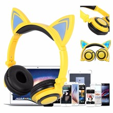 Flashing Glowing Cat Ear Headphones Gaming Headset Fidget Foldable Baby Kids Earphone with LED light For PC Mobile Phone