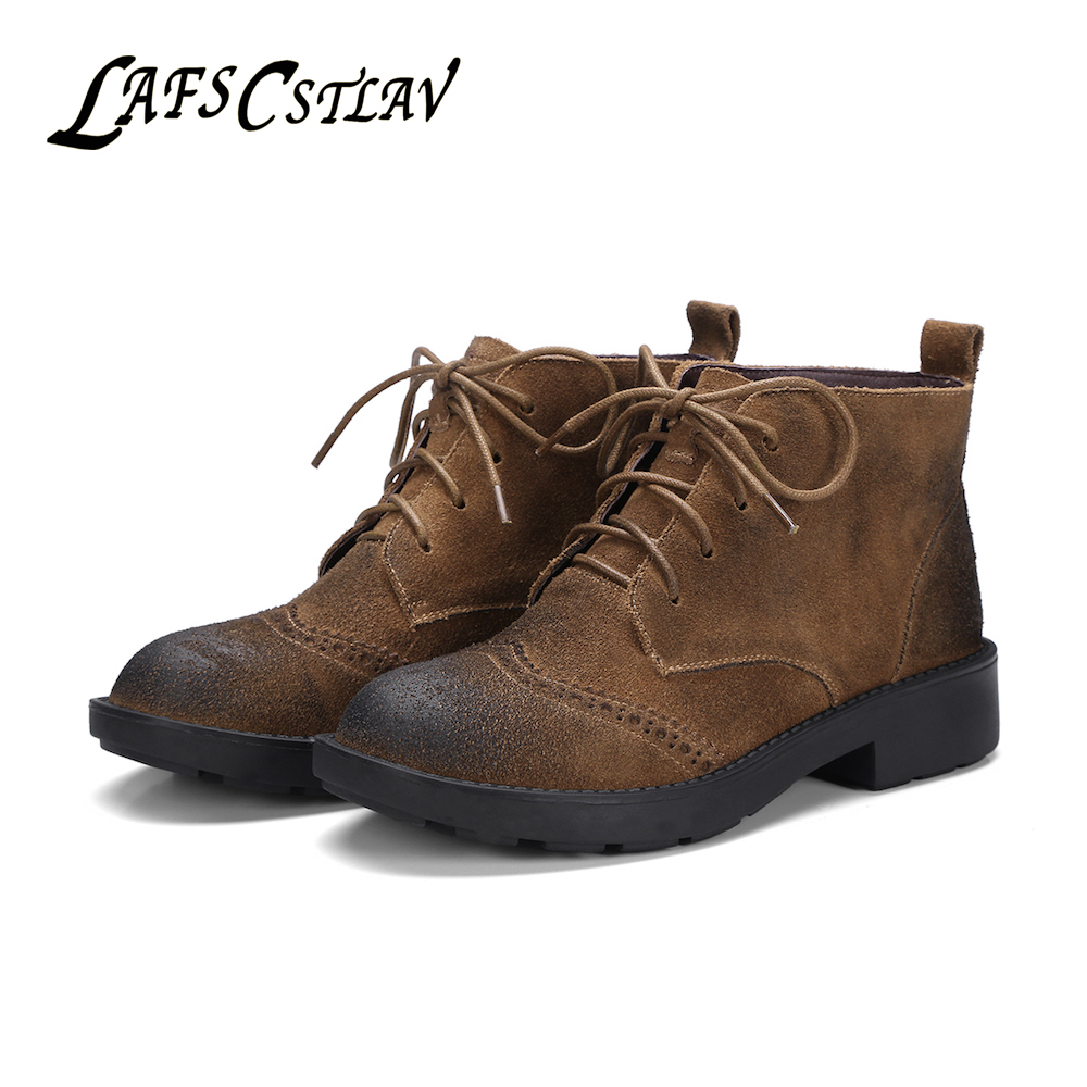 LAFS CSTLAV Genuine Leather Cow Suede Basic Boots Women Comfortable High Quality Classic Casual Brand Elegant Winter Booties top brand high quality genuine leather casual men shoes cow suede comfortable loafers soft breathable shoes men flats warm