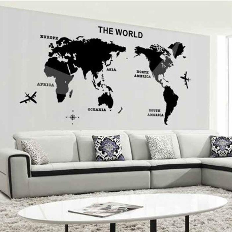 3D carte du monde miroir Stickers muraux Art fond mur acrylique miroir décoratif autocollant mural mapa mundi chambres décor à la maison