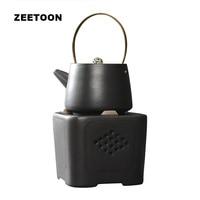 220cc Zen Japanese Teapot Set Ceramics Kung Fu Tea Set Kettle Coarse Pottery Puer Pot Tea Furnace Alcohol Lights New Home Decor
