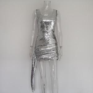 Image 4 - JillPeriใหม่หรูหราBlingเลื่อมชุดมินิผู้หญิงทุกวันชุดShinnyลดลงสแควร์คอสั้นสวมใส่เซ็กซี่Party Dress