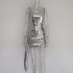 Image 4 - JillPeri nowa luksusowa Bling sukienka Mini z cekinami kobiet strój na co dzień Shinny spadł kwadratowy kołnierzyk krótka sukienka do klubu Sexy Party Dress