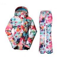 2018 женский лыжный костюм зимняя одежда водонепроницаемый ветрозащитный лыжный сноуборд куртка брюки женский Русский стиль костюм Набор Но