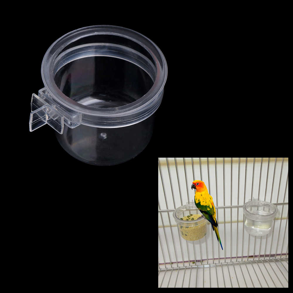 Birds Parrot Feeder Pets Clear Acrylic Feeding Bowl Cage Food Water Holder Round Bowls Pet Bird Supplies C42