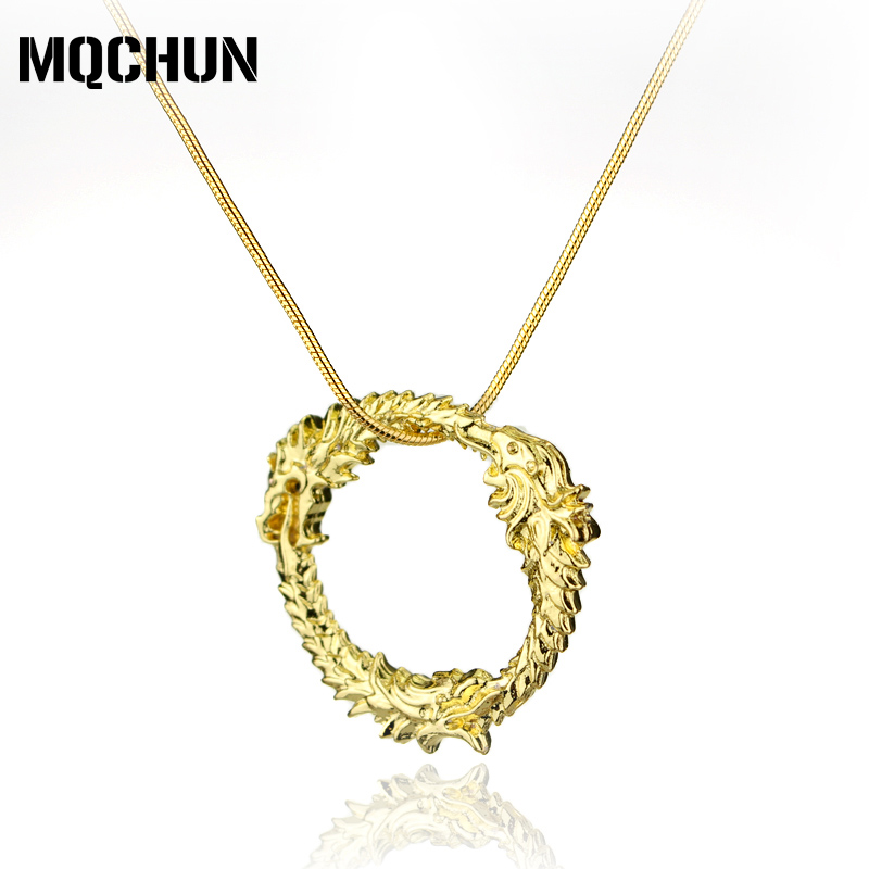 MQCHUN Wholesale Movie The Elder Scrolls <font><b>V</b></font>: Skyrim Dragon Pendant Necklace Gold Choker Necklace for Women Men Vintage Necklace-<font><b>3</b></font> image