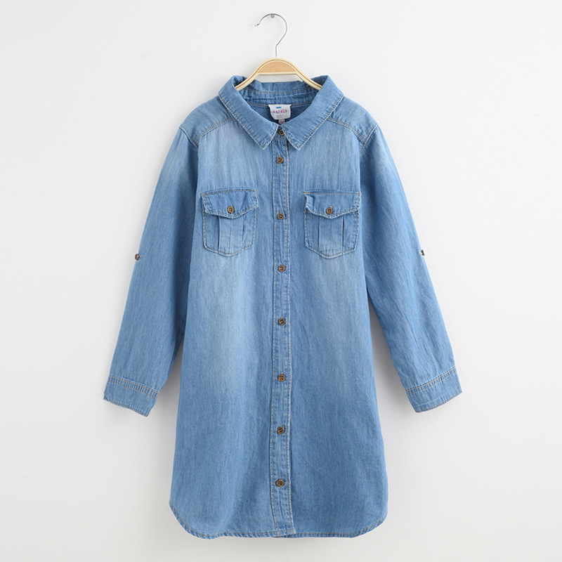 7ae8d9b132f HAYDEN Girls Denim Dress Long Sleeve Size 8 12 Spring 2017 Dresses Girls  Denim Shirt Dress Teenage Girls Clothing 14 Years-in Dresses from Mother    Kids on ...