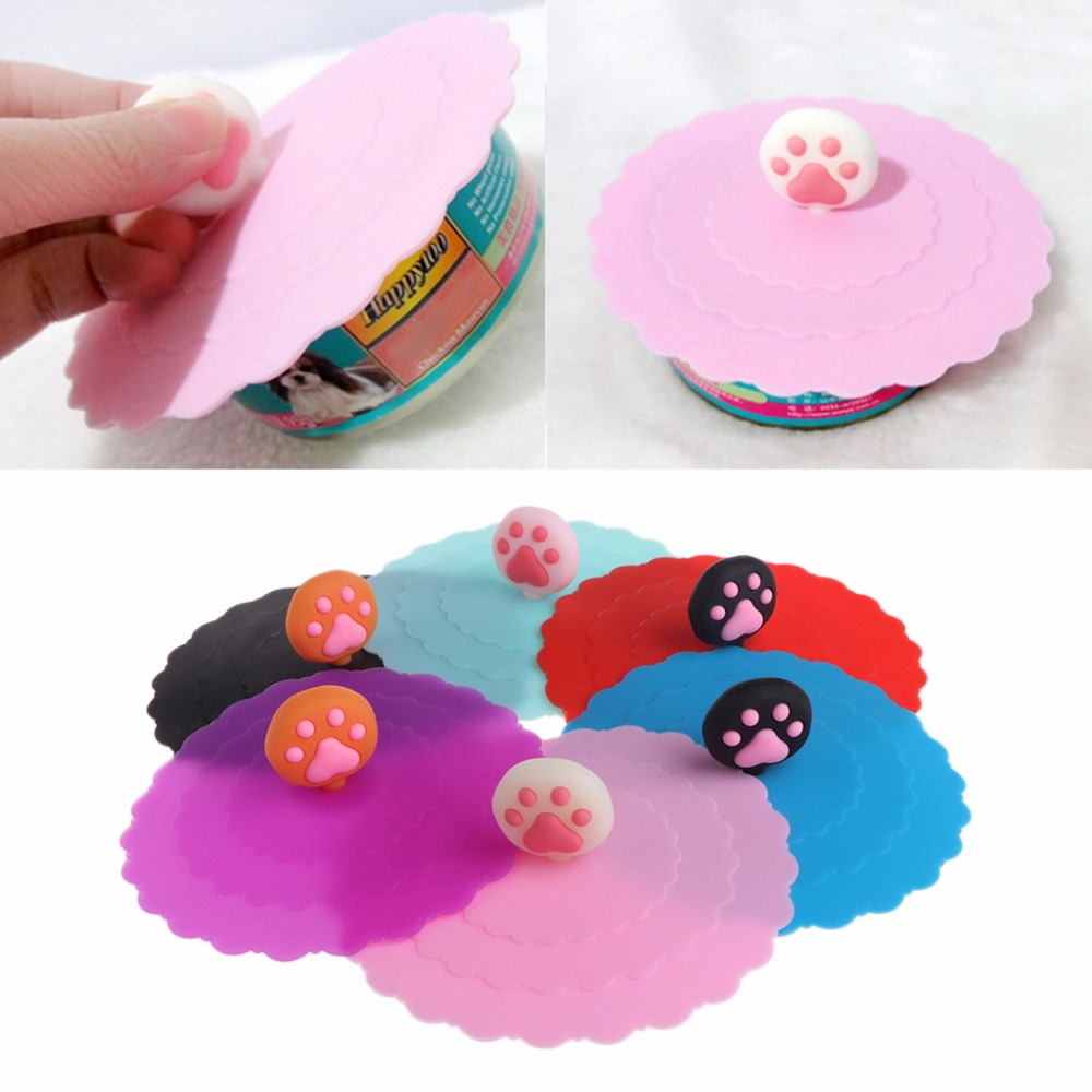 Creative Pet Cat Dog Food Can Cover Silicone Storage Cap Leakproof  Fresh Lid For Food Coffee Can Cup Reusable Color Random C42