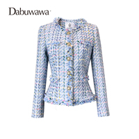 Dabuwawa Sky Blue Women S Appliques Long Sleeve Vintage Jacket Short Slim Coat Autumn Jacket Women