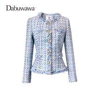Dabuwawa Hemelsblauw vrouwen Applicaties Lange Mouwen Vintage Jas Korte Slanke Jas Herfst Jas Vrouwen