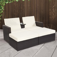 Brand 3 Pcs/set Two Seats Outdoor Rattan Wicker Chaise Lounge Love Seat Steel Tube Construction Water Resistant Beach Chairs