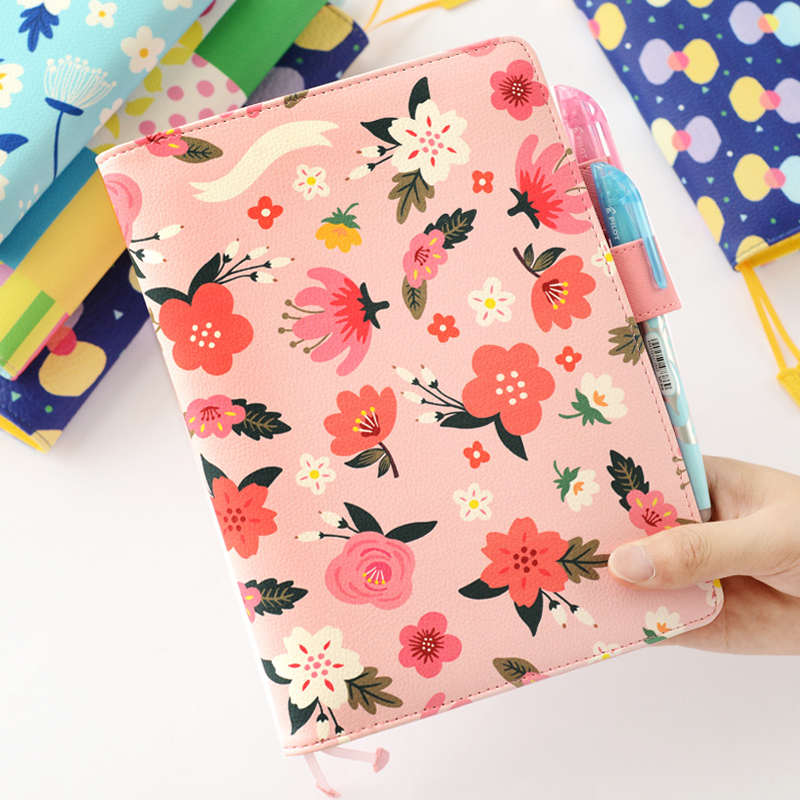 PU Leather Cover Planner Notebook Flower Travel Journal Diary Book Exercise Composition Binding Note Notepad Gift A5 A6