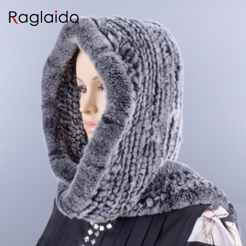 Raglaido knitted rabbit fur hood real rex scarf hat for women winter snow warm cap 55 59cm large knitted hat LQ11278