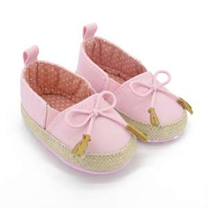 Infant Baby First Walker Toddler Princess Bowknot Canvas Shoes Soft Soled Crib Shoes