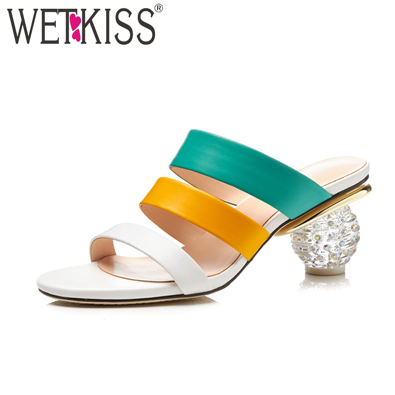WETKISS 2018 Summer Open Toe Mules Shoes Women Slippers Genuine Leather Ladies Slides Crystal High Heels Gladiator Rome Shoes wetkiss brand genuine leather mules fashion summer shoes leisure sewing thick high heels shoes sexy open toe woman slippers