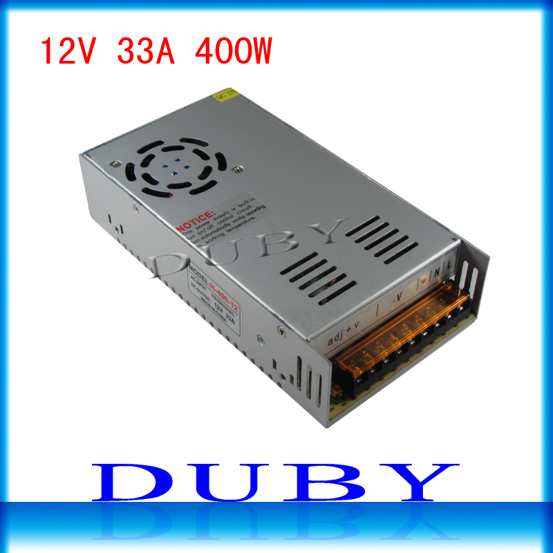 50piece/lot 12V 33A 400W Switching power supply Driver For LED Light Strip Display AC100-240V  Factory Supplier  Free Fedex ac 85v 265v to 20 38v 600ma power supply driver adapter for led light lamp