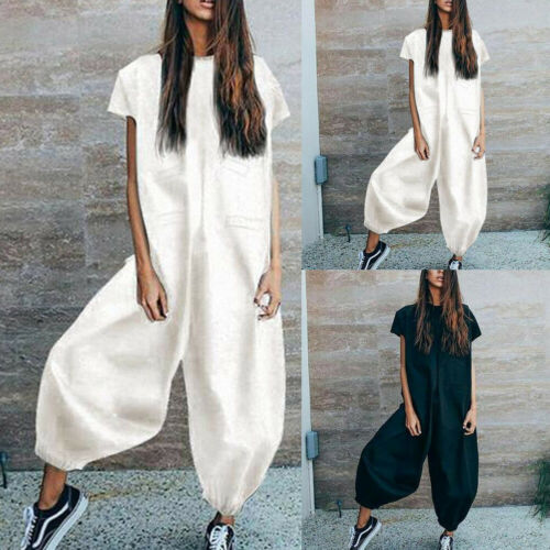 New Womens Clubwear Summer Playsuit Loose Solid Color Cool Girl Fashion Party   Jumpsuit   Trousers