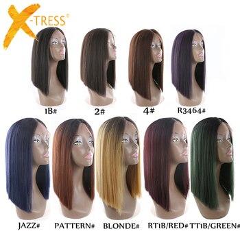 Ombre черный блондинка красный цвет яки прямые синтетические волосы на кружеве Искусственные парики X-TRESS тупой натуральный волосяной