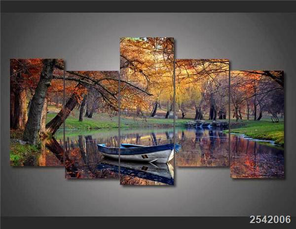 Hd Printed Autumn Park Boat Painting On Canvas Room Decoration Print Poster Picture Free Shipping/Ny-2094 Christmas gift