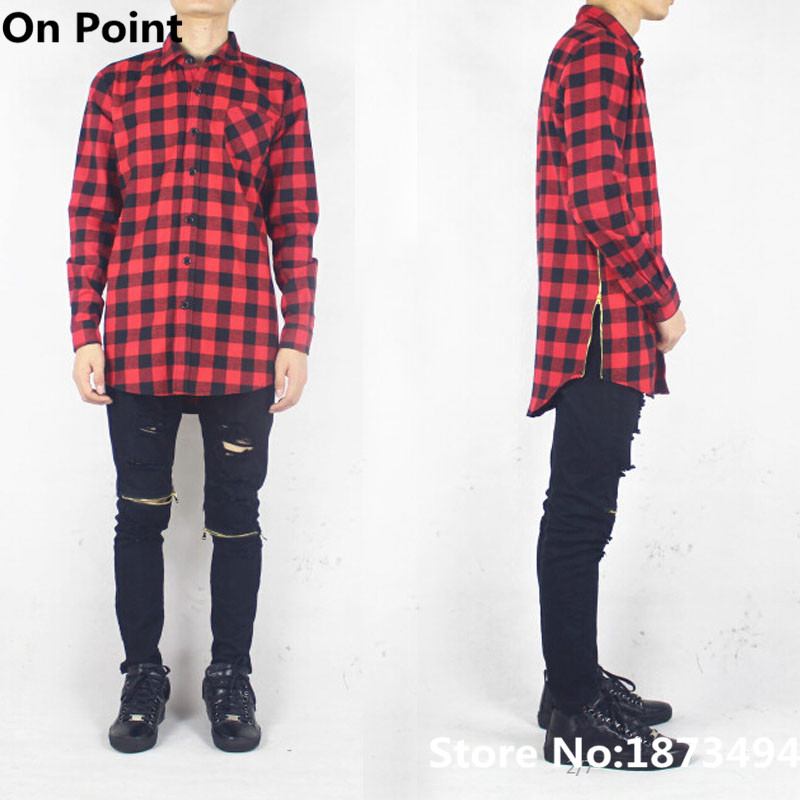 Hiphop fashion long sleeve mens black and red tartan flannel ...