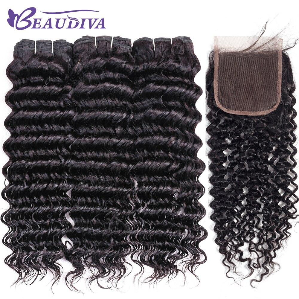 Beaudiva Human Hair Weave Bundles Peruvian Deep Wave Bundles With Closure Deep Curly Human Hair With