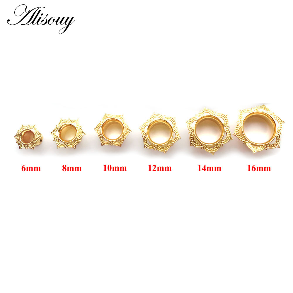 Alisouy 1 PCS Gold color Plug & Tunnel Ear Jewelry Ornate Stainless Steel Body Piercing Jewelry Ear Expander Gauge 6 to 16 mm image