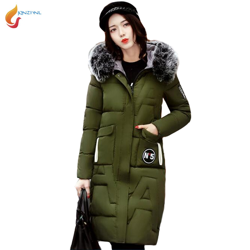 JQNZHNL Winter Warm Parkas 2017 New Big Fur Hooded Cotton Coats Outerwear Women Solid Color Thicken Down Jackets Overcoats L498 brand new 2015 men fur hooded cotton padded coats fashion winter women thicken jackets couples overcoats outerwear h4395