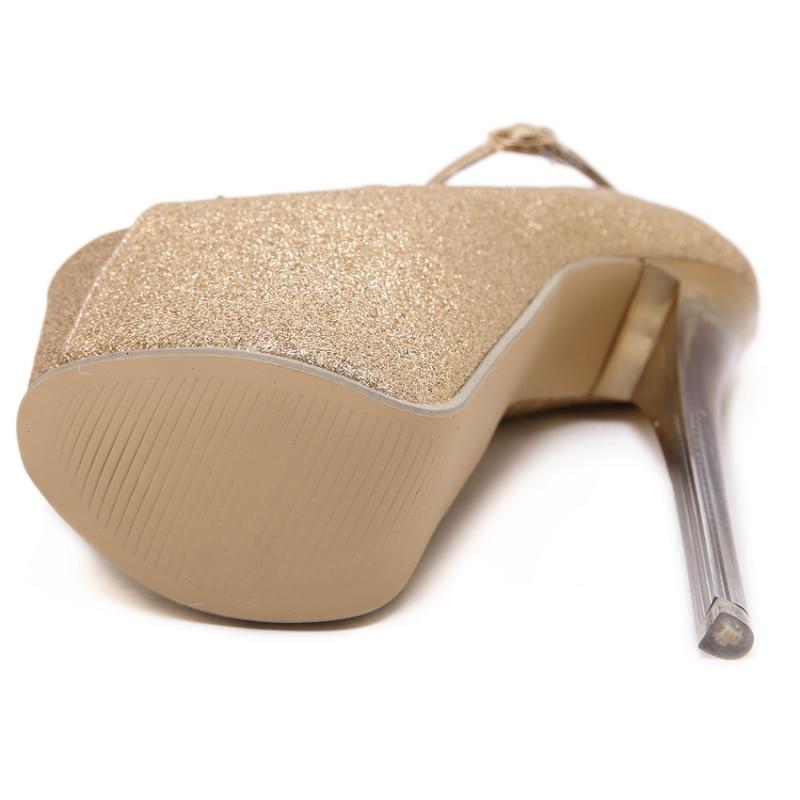 Peep Toe Argent De Talons Haute Pôle Femmes Soirée Or forme Pompes Plate Extrême Bride 2019 Aiguilles Sexy Cheville À La Glitter Chaussures xHvwqzSSR