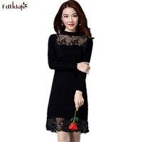 Fdfklak Women Knitted Dress Spring Autumn 2018 Short Sexy Lace Bodycon Dresses Elastic Slim Knit Sweater