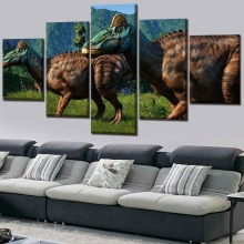 painting on canvas Jurassic World Movie Modern Decor HD Print Painting 5 Piece Canvas Art poster Room