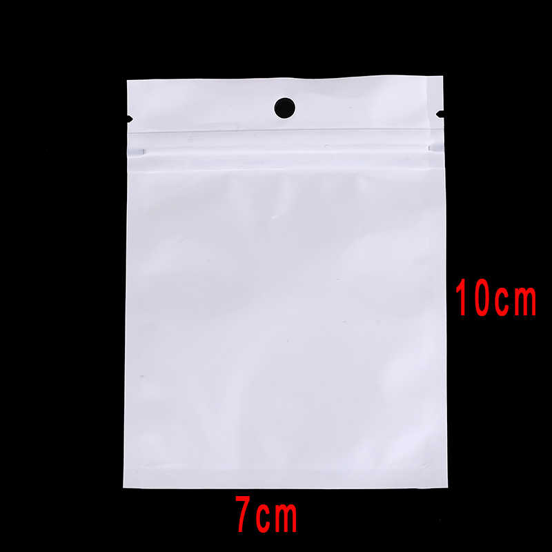 100Pcs Ziplock Zip Lock Bags Package With Hang Hole Waterproof Zipper Plastic Bags Packaging Pouches  7 x 10cm 6 x 22cm 9 x 16cm