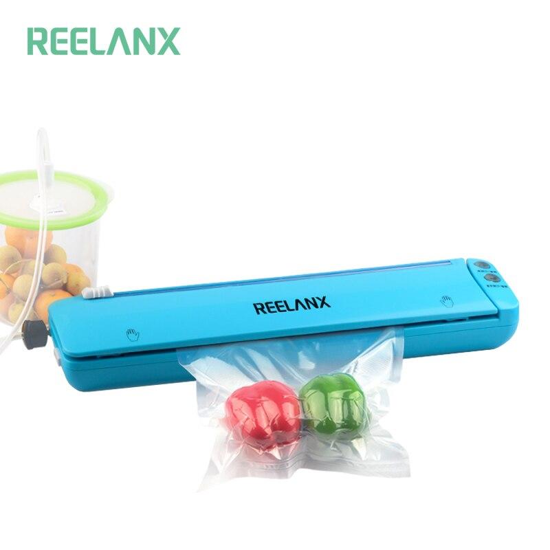 REELANX Vakuum Versiegelung Lite Eingebaute Cutter 220 v Automatische Lebensmittel Verpackung Maschine 10 Freies Taschen Beste Vakuum Packer für Küche