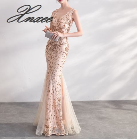 Image 3 - Gold Color Sequin Dresses Long Elegant Party Women Gowns-in Dresses from Women's Clothing