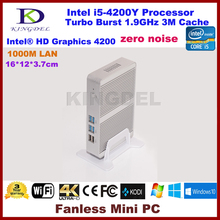Kingdel дешевые мини-ПК Intel Core i5 4200Y 4 ГБ Оперативная память mSATA 4 К Безвентиляторный Mini ITX PC Windows HTPC TV Wintel коробка