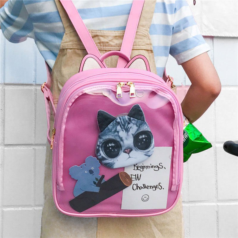 Cute Cat PU Leather Backpack Candy Color Transparent Shoulder Bags School Teenage Girls Travel Backpacks WML99