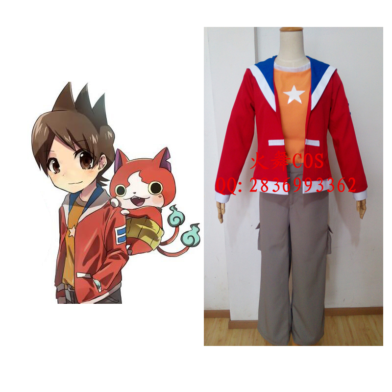 2016 Japanese Anime Youkai Watch Cosplay Costume Amano Keita Cosplay Full Set With Overcoat